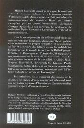 Lettres d'un inverti allemand au docteur lacassagne 1903-1908 - 4ème de couverture - Format classique