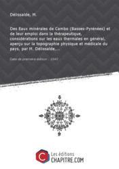 Des Eaux minérales de Cambo (Basses-Pyrénées) et de leur emploi dans la thérapeutique, considérations sur les eaux thermales en général, aperçu sur la topographie physique et médicale du pays, par M. Délissalde,... [Edition de 1843] - Couverture - Format classique