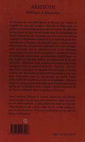 Aristote, Politique Et Education - 4ème de couverture - Format classique