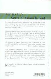 Sous Le Jasmin La Nuit - 4ème de couverture - Format classique