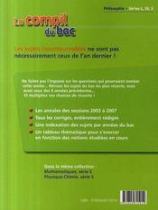 Compil Bac ; Philosophie ; Bac 2008 - 4ème de couverture - Format classique