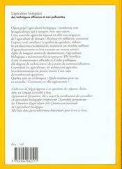 Agriculture biologique (l') - 4ème de couverture - Format classique