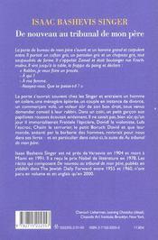 De Nouveau Au Tribunal De Mon Pere (Souvenirs) - 4ème de couverture - Format classique