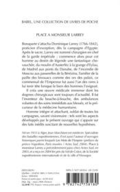 Place à monsieur Larrey - 4ème de couverture - Format classique