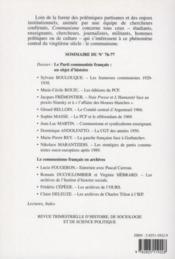 Revue Communisme N.76/77 ; Le Parti Communiste Français : Archives Et Objet D'Histoire - 4ème de couverture - Format classique
