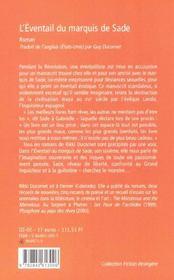 L'Eventail Du Marquis De Sade - 4ème de couverture - Format classique