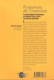 Puissances de l'invention. la psychologie economique de gabriel tarde contre l'economie politique - 4ème de couverture - Format classique