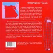 Geopolitique de l'egypte - 4ème de couverture - Format classique
