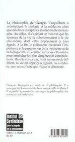 Georges Canguilhem, Philosophe De La Vie - 4ème de couverture - Format classique