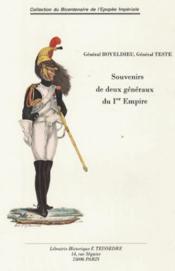 Souvenirs de deux generaux du 1er empire - Couverture - Format classique