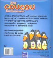 MAXI COUCOU ; apprendre à compter - 4ème de couverture - Format classique