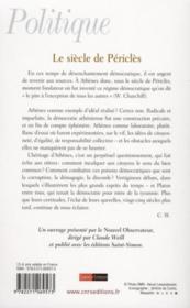 Le siècle de Périclès - 4ème de couverture - Format classique
