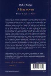 A livre ouvert - 4ème de couverture - Format classique