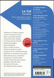 Le Cid, de Corneille - 4ème de couverture - Format classique
