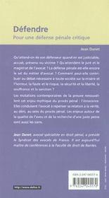 Defendre ; Pour Une Defense Penale Critique - 4ème de couverture - Format classique