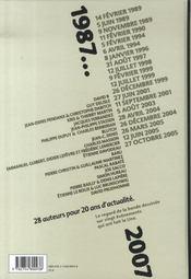 Le jour où, 1987-2007 ; france info, 20 ans d'actualité - 4ème de couverture - Format classique