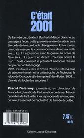 C etait 2001 - 4ème de couverture - Format classique
