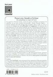 Penser avec Arendt et Lévinas ; du mal politique au respect de l'autre - 4ème de couverture - Format classique