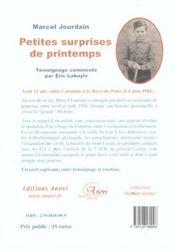 Petites surprises de printemps ; avoir 11 ans dans le Cotentin le 6 juin 1944... - 4ème de couverture - Format classique