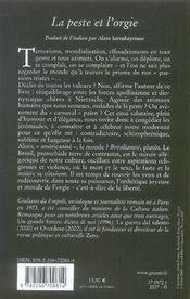 La peste et l'orgie - 4ème de couverture - Format classique