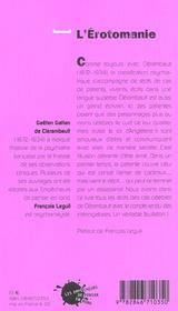 L'erotomanie (reed.) - 4ème de couverture - Format classique