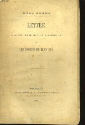 Lettre - A.M. Ph. Tamizey De Larroque Sur Les Poedies De Jean Rus - Couverture - Format classique