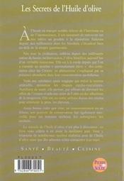 Les secrets de l huile d olive - 4ème de couverture - Format classique