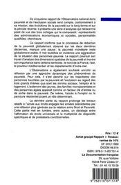Le rapport de l'observatoire national de la pauvreté et de l'exclusion sociale - 4ème de couverture - Format classique