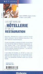 Les metiers de l'hotellerie et de la restauration - 4ème de couverture - Format classique