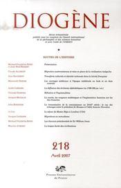 REVUE DIOGENE N.218 ; routes de l'histoire - Intérieur - Format classique
