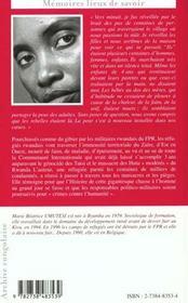 Fuir Ou Mourir Au Zaire ; Le Vecu D'Une Refugiee Rwandaise - 4ème de couverture - Format classique