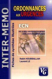 Ordonnances aux urgences ; ECN ; fiches de synthèes illustrées - Intérieur - Format classique