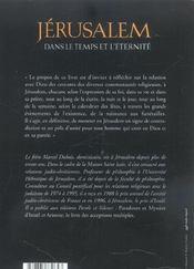 Jerusalem dans le temps et l eternite - 4ème de couverture - Format classique