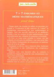 7x7 enigmes 4eme/3eme - 4ème de couverture - Format classique