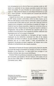 Vivre la ville. les classes populaires à paris (1e moitié du xix siècle) - 4ème de couverture - Format classique