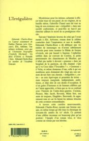 L'irrégulière ou mon itinéraire Chanel - 4ème de couverture - Format classique
