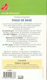 Philo De Base - 4ème de couverture - Format classique