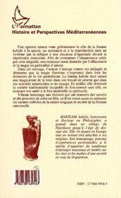 Magie Des Femmes Kabyles Et L'Unite De Societe Traditionnell - 4ème de couverture - Format classique