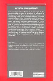 Sociologie de la souffrance - 4ème de couverture - Format classique
