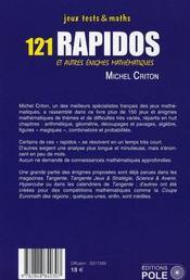 121 rapidos et autre énigmes mathématiques - 4ème de couverture - Format classique