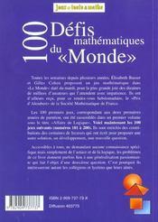 100 défis math. du