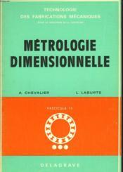 Metrologie Dimensionnelle - Couverture - Format classique