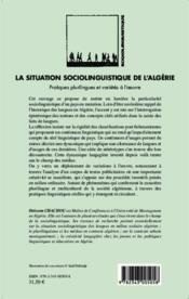 La situation sociolinguistique de l'Algérie ; pratiques plurilingues et variétés à l'oeuvre - Couverture - Format classique