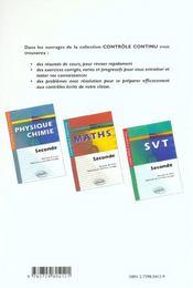 Controle Continu ; Svt ; 2nde - 4ème de couverture - Format classique