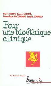 Pour une bioethique clinique medicalisation de la societe, questionnement ethique et pratiques de so - Intérieur - Format classique