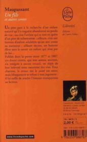 Un fils ; et autres contes - 4ème de couverture - Format classique