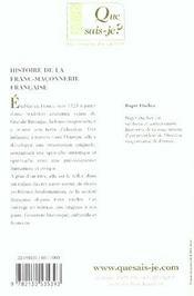 Histoire de la franc-maconnerie francaise - 4ème de couverture - Format classique