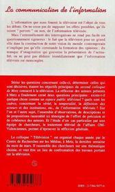 La Communication De L'Information - 4ème de couverture - Format classique