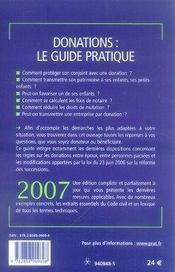 Donations, le guide pratique (édition 2007) - 4ème de couverture - Format classique