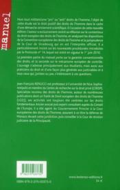 Droit européen des droits de l'homme ; contentieux européen (4e édition) - 4ème de couverture - Format classique